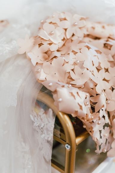 Blush flower fabric with pearls